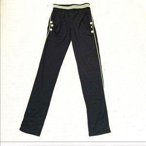 Black Neon Green Elastic Waist Jogger Pants!
